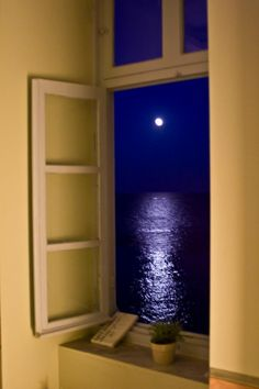 """sh-inaam: """"Full moon in Syros … Greece """" Looking Out The Window, Through The Looking Glass, Beautiful World, Beautiful Places, Syros Greece, Window View, Through The Window, Mellow Yellow, Full Moon"""