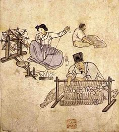 (Korea) Weaving & spinning from album of genre paintings by Kim Hong-do aka Danwon. ca century CE. Korean Painting, Japanese Painting, Japanese Art, Korean Art, Asian Art, Korean Traditional, Traditional Art, Pictures To Paint, Art Pictures