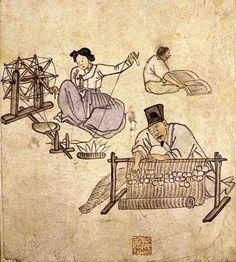 (Korea) Weaving & Spinning from Album of Genre Paintings by Kim Hong-do (1745-1806). aka Danwon. ca 18th century CE. Joseon Kingdom, Korea.