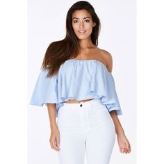 Travel Diary Off Shoulder Top ($27) ❤ liked on Polyvore featuring tops, light blue, off the shoulder summer tops, tube top, off the shoulder tops, light blue top and crop tube top