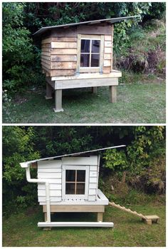 #ChickenCoop, #Garden, #RecycledPallet Chicken coop made from 7 recycled wooden…