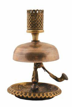 Eighteenth-century brass hotel bell and candleholder