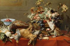 Frans Snyders (1579–1657), Still Life with Fruit, Dead Game, Vegetables, a Live Monkey, Squirrel and Cat. Oil on canvas.jpg