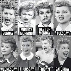 I love Lucy days the week expressions