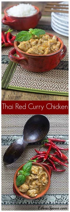Amazing and incredibly easy Thai red curry chicken brings some heat and sweet flavors. One of my all time favorite dishes! Grilled Chicken Recipes, Spicy Recipes, Indian Food Recipes, Asian Recipes, Real Food Recipes, Great Recipes, Healthy Recipes, Ethnic Recipes, Delicious Recipes