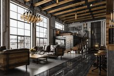 Here are 40 of our best picks for most beautiful loft living spaces! Read what is a loft apartment and loft style. Get ideas for your loft homes. Loft Interior Design, Industrial Interior Design, Loft Design, Industrial Interiors, House Design, Interior Designing, Loft Industrial, Industrial Living, Decor Industrial