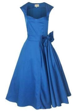 4ec51b113b New Classy Vintage Rockabilly Style Blue Bow Swing Party Evening Dress