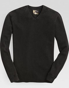 Pronto Blue V-Neck Modern Fit Sweater, Black