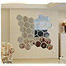 Acrylic DIY Decorative Self-adhesive Mirror Wall Stickers Geometric Hexagon Wall Mural Home Decor Wedding Room Decor(Silver)