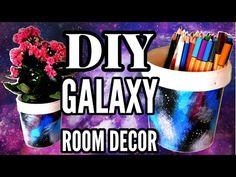 DIY Galaxy Room Decor: Yogurt Bucket Flower Pot and Pencil Holder for Your Desk. How to make galaxy flower pots or DIY pencil holders by recycling old yogurt. Diy Room Decor For Teens, Teen Room Decor, Crafts For Teens, Diy For Kids, Galaxy Crafts, Diy Galaxy, Diy Gift Bags Paper, Pencil Holders For Desk, Galaxy Flowers