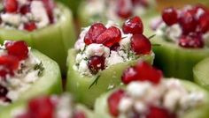 BBC Two - Lorraine Pascale: How to Be a Better Cook, Bryony Crutcher, Cucumber and feta bites with dill and pomegranate, and Nice and spicy Thai minced chicken salad (Larb Gai) Savory Snacks, Healthy Snacks, Healthy Recipes, Delicious Appetizers, Vegetarian Recipes, Feta, Pomegranate Recipes, Cucumber Recipes, Canapes
