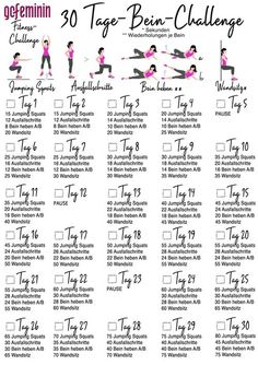 For beautiful, tight legs: the leg challenge! - 30 days leg challenge for beautiful, tight legs - Fitness Workouts, At Home Workouts, Mini Workouts, Leg Workouts, Insanity Workout, Best Cardio Workout, 30 Day Leg Challenge, Arm Workout Challenge, Power Workout