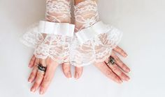 White lace wedding bridal wrist cuff gloves gold button lace