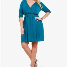 Torrid Blue Faux Surplice Wrap Dress With Pockets