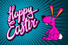 happy Easter Bunny card in vector by Rommeo79 on Creative Market