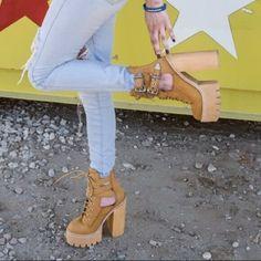 Jeffrey Campbell Abner Lace Up Platform Boots Work High Heel Tan Suede Platform Chelsea Boots, Oxford Platform, Platform Boots, Lace Up Heels, Ankle Strap Heels, High Heels, Vintage Heels, Silver Shoes, Open Toe Sandals