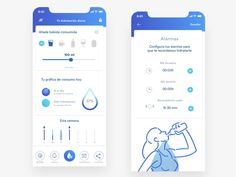 Water remainder, app by Sara Miguel del Amo - Design Mobile App Design, Mobile Ui, Wallpaper Inspiration, App Design Inspiration, Water Reminder App, Material Design, App Store, Android Ui, Sports App
