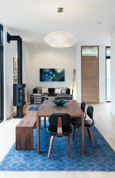 Contemporary Dining Room With Blue Accents | photo Finn O'Hara | design Laura Felstiner | House & Home