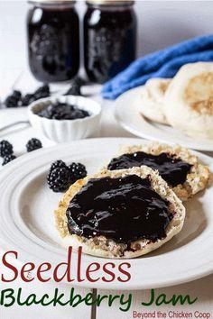 Homemade Seedless Blackberry Jam made with just two ingredients: blackberries and sugar. No added pectin. #blackberryjam #seedlessblackberryjam #blackberries #preservingfood via @Beyondthecoop