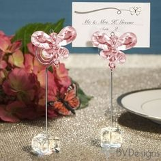 Exquisite Pink Crystal Butterfly Place Card Holders, Wedding Favors, Quinceanera, Sweet Sixteen, Baby Shower, Birthday Favors