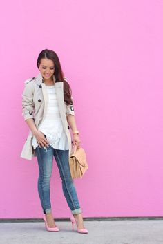 Casual Spring Outfit: Burberry Trench Coat, Lace and Distressed Denim with Pink Pumps // details here:  http://www.stylishpetite.com/2015/04/casual-spring-outfit-burberry-trench.html