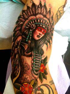 Native American heritage piece by Kyle Walker at Guru Tattoo in San Diego
