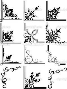 Discover thousands of images about Decorative Corner Frames royalty-free stock vector art Stencil Patterns, Stencil Designs, Stencils, Borders And Frames, Borders Free, Page Borders Design, Free Graphics, Corner Designs, Glass Design
