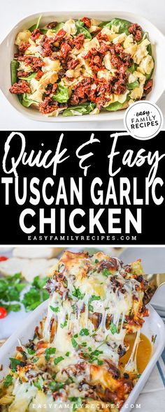 This easy Tuscan Garlic Chicken recipe is a wonderful dinner for a busy night and even a great dinner idea for company! The flavors are delicious and it is packed with healthy…</br> Tuscan Garlic Chicken, Garlic Chicken Recipes, Baked Chicken, Easy Family Meals, Quick Easy Meals, Cooking Recipes, Healthy Recipes, Chickpea Recipes, Ham Recipes