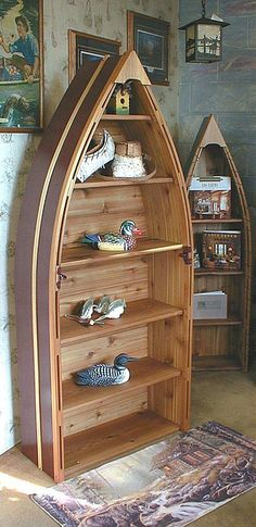 I have one of these canoe shelfs...love it!  Canoe & Boat Furniture Decor Catalog - cabin furniture, cottage furniture, cabin decor, cottage decor - Bean's Boats