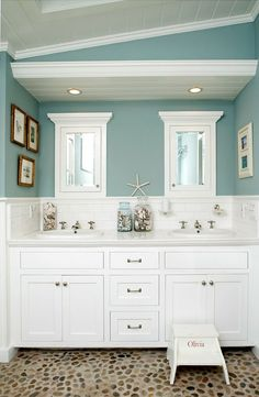 Master bath. love this bathroom color, consider wood ceiling for change of lighting in Master bath.