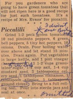 Vintage Recipe for Green Tomato Piccalilli - Clipping Family Recipes :: preserving recipes :: In the Kitchen :: Good Ole Days :: from the heart :: old fashion cookery Retro Recipes, Old Recipes, Vintage Recipes, Family Recipes, Relish Recipes, Canning Recipes, Piccalilli Recipes, Green Tomato Piccalilli Recipe, Green Tomato Recipes