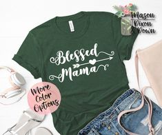Our custom made-to-order Blessed Mama tees are made with you in mind! Choose from 70 different colored shirts in 7 sizes, with 2 colors to select from for the Mom Squad design to create your unique motherhood t shirt.  Whether you are buying this tired mom tee shirt for yourself or as a baby shower