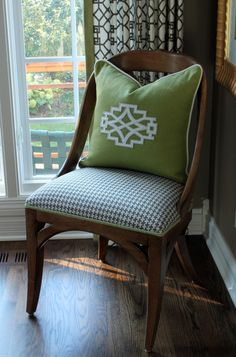 Houndstooth looks best when it's upholstered tightly to the frame.