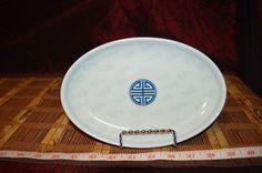 "Seokchon Porcelain Oval Plate Blue and Grey Design Made in Korea 8 5/8""x5 7/8"" #Seokchon"