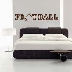 Football Wall Decal This Football Wall Decal is made for all of our football players. Express a bit of your personality with this design. Design available in different sizes and over 40 colors. All of our vinyl wall decals are made with the best Wall Decals For Bedroom, Bedroom Decor, Bedroom Ideas, Bed Design, Wall Design, Football Wall, Family Wall Decor, Always Kiss Me Goodnight, Bed Pads
