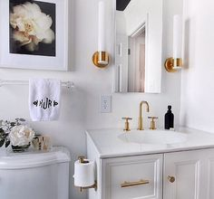 Black White And Brass Bathroom See This Instagram Photo By - Gold brass bathroom fixtures