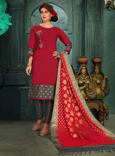 Buy Red Chanderi Silk Readymade Churidar Salwar Suit 129885 online at lowest price from huge collection of salwar kameez at Indianclothstore.com. Churidar, Salwar Kameez, Silk Suit, Indian Ethnic Wear, Salwar Suits, Bridal, Elegant, Pretty, Model