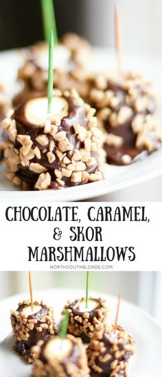 Chocolate, Caramel, and Skor Marshmallows are gluten-free, using vegan marshmallows! A Halloween recipe for entertaining this fall! A sweet treat or yummy dessert for the whole family.e