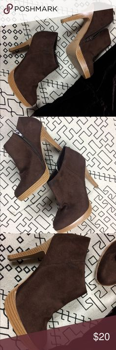 "Brown Booties Used in good condition Qupid  brown booties fabric material ▫️ Approximately 4"" Heels Qupid Shoes Ankle Boots & Booties"