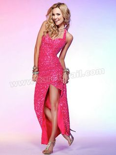 Shining Floor-length Halter Sweetheart Printed Sequined Evening Dress