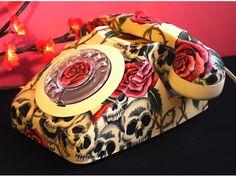 Skulls & Roses Decoupage Vintage phone