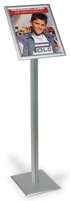 11 x 14 Menu Stand for Floor, Snap Open, 47-inch-tall - Silver