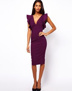 Pencil Dress with Ruffles - Lyst