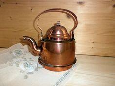 Collectible vintage copper tea pot maker kettle Hammered copper Swedish Scandinavian vintage kitchen decor Tea time Antique Leksand pot
