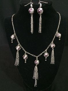 Silver Chain with Purple Beads and Leaf Bead Caps by ScottishDryAd, $40.00
