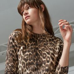 Warehouse, ANIMAL PRINT JUMPER Brown Print 3
