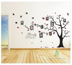 Family Photo Frame Tree, Bird, Quotes Wall Art Sticker - PD508  http://www.infinitywallart.com/family-photo-frame-tree-bird-quotes-wall-art-sticker-pd508.html