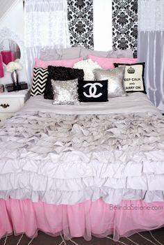 Chic pink, white, and black bedroom. Chanel themed room. www.BelindaSelene.com