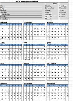 Free Printable Employee Attendance Calendar Template 2016 89uj ...
