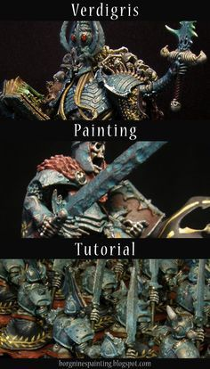 A tutorial for painting verdigris / patina / oxidized effect on miniature's armor, very heavy effect that is.